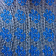 kunststof kleed medium    bloem blauw / grijs