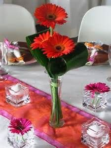 Red and White Gerbera daisy wedding centerpiece-simple and elegant