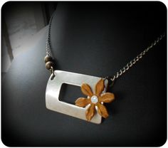 Burnished Yellow Mixed Metal Patina Flower by Cocco Jewelry