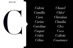 The Most Fashionable Names from A to Z  - HarpersBAZAAR.com