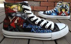 Anime Fullmetal Alchemist Hand Painted Shoes anime high top shoe,High-top Painted Canvas Shoes