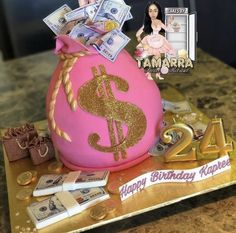 Crazy Birthday Cakes, 24th Birthday Cake, Money Birthday Cake, Birthday Drip Cake, 21st Cake, Birthday Goals, Money Cake, Beautiful Birthday Cakes, Birthday Cakes For Women