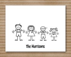 Stick Family Note Cards Personalized Custom (set of 8). $12.00, via Etsy.