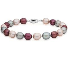 Blush Oval Freshwater Cultured Pearl Bracelet with Sterling Silver