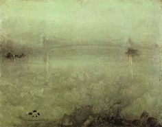 James McNeill Whistler — Nocturne: Silver and Opal, 1889. Painting: Oil on canvas, 20.32 x 25.72 cm. Freer Sackler Gallery, Smithsolian Institute, Washington, D.C..