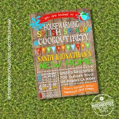 Cookout pool party housewarming invitation house warming bbq pool party open house invite digital printable invitation you print 14218 by myooakboutique on Etsy