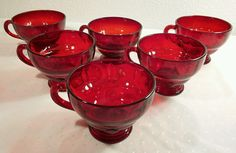 6 New Martinsville Glass MOONDROPS RUBY RED EXCELLENT UNUSED COND!  #NewMartinsvilleGlass