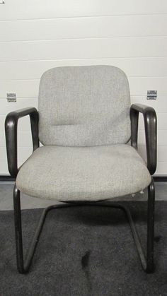 Grey Tweed Fabric Seat & Back Conference Chair. Black Frame & Cantilever Legs