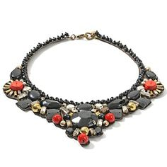 "RK by Ranjana Khan Black Bead and Coral-Color Stone 20"" Necklace at HSN.com."