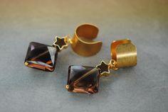 Smoky Quartz Star Ear Cuffs | Gemstone Ear Cuff | Steven Universe Smoky Quartz | Ear Cuff Pair | 24k Gold Star | Gold Ear Cuff | Gem Clip On