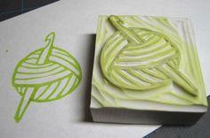 crochet yarn ball stamp - received from onyxnox in November Pinterest swap :)