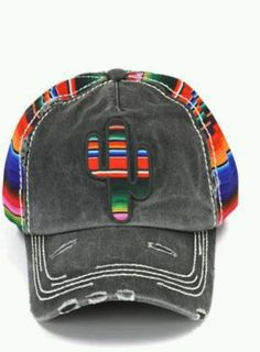 SERAPE CACTUS  Cap hat Cowgirl Western Gypsy Southwest Charcoal Distressed #Unbranded #BaseballCap