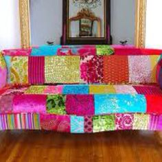 Quilted Couch!! I wouldn't do this personally but it's really cute :)