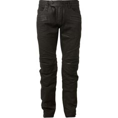 Balmain Coated Denim Paneled Biker Jeans ($1,425) ❤ liked on Polyvore featuring mens, men's clothing and men's jeans