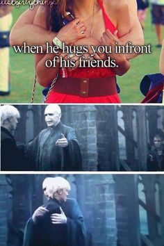 Harry potter lolz.  Awkward Malfoy hug