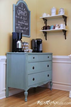 """Coffee Bar"" Server w/Shelves – It Moved! ""Coffee Bar"" Server w/Shelves – It Moved! Home Design Diy, New Home Designs, House Design, Design Design, Interior Design, Coffee Bar Station, Home Coffee Stations, Tea Station, Coffee Bar Home"