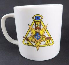 Freemason Coffee Mug Square Compass Eye Plow Liberty Bell Star G Lefthanded 6 oz