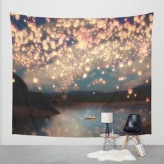 Love Wish Lanterns Wall Tapestry by Paula Belle Flores | Society6