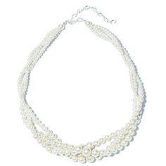 Stylish Wedding Bridal Multi Strand Long Layerd 6mm White Glass Pearl Necklace Engagement & Wedding