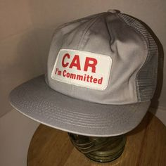 bb57b2a2adbfb Vintage CAR I M COMMITTED 80s USA K-Products Gray Trucker Hat Cap Sapback  PATCH