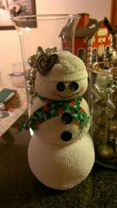 Sock snowman! @Shannon Bellanca Bellanca Sivewright !