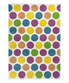 Love this Yellow & Purple Chic Lotsa Dots Wool Rug on #zulily! #zulilyfinds - add some color?