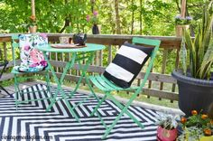 Small Patio Makeover - black white green pink