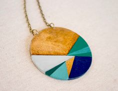 Geometric hand painted pendant - blue- aqua green - Large  From vickygonart
