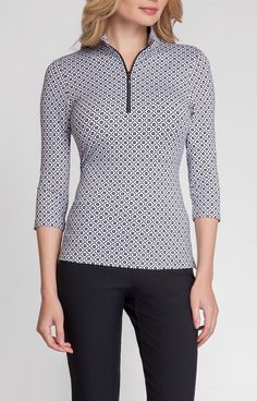 The Hera Top is a stylish 3/4 sleeve top with UPF 45+ sun protection. #newarrival #golf