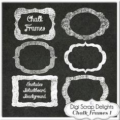 Digital Chalk Frames // Chalkboard Clip Art by DigiScrapDelights
