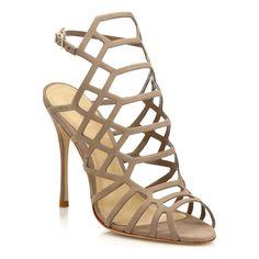 "Cutout suede caged sandal set on svelte heel. Self-covered heel, 4"" (100mm).Suede upper. Open toe. Adjustable ankle strap. Polyurethane lining."