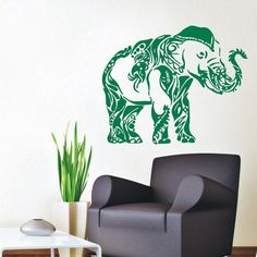 Decorated Ganesha Wall Decals Indian Elephant Animals Home Interior Design Art Mural Sticker Decal size 44x70 Color