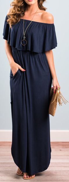 Navy Flounce Off The Shoulder Maxi Jersey Dress #dresses #fashion #women