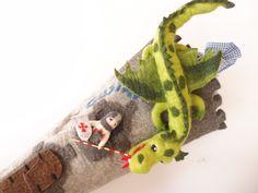 Schultüten - 85 cm - Schultüte Ritterburg mit Drache und Ritter - ein Designerstück von miniaturi bei DaWanda