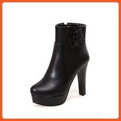 Women's Zipper High-Heels PU Solid Low Top Boots Black 38