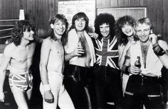 Def Leppard with Brian May of Queen. 1983