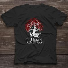 The North Remembers T-Shirt Game of Thrones Weirwood Tree Dire Wolves Tee New