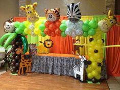 20 Ideas For Baby Shower Ideas Safari Decoration Jungle Theme Jungle Theme Birthday, Jungle Theme Parties, Safari Birthday Party, Animal Birthday, Baby Party, Baby Birthday, Jungle Party, Birthday Table, Birthday Ideas