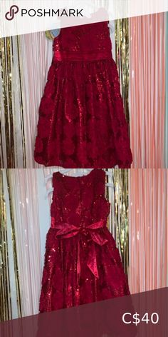 Sequined Party Dress Beautiful princess style sequin and floral dress. Dresses Formal Holiday Dresses, Special Occasion Dresses, Christmas Tutu Dress, Onesie Dress, Casual Formal Dresses, Emerald Green Dresses, Gymboree Dresses, Princess Style, Rose Dress