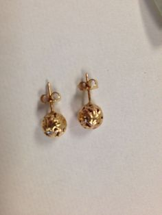 Ming's Gold Ball Earrings