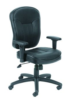 Boss Office Products B1561 Boss Black Leather Task Chair W/ Wild Arms