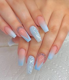 Blue And White Nails, Blue Glitter Nails, Blue Coffin Nails, Blue Acrylic Nails, Purple Nails, Red Purple, Light Blue Nails, Blue Green, Periwinkle Nails
