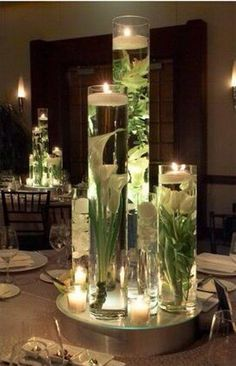 Floating candle with flower centerpiece idea!