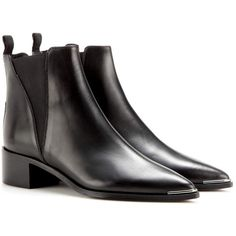 Acne Studios Jensen Leather Ankle Boots (2.205 RON) ❤ liked on Polyvore featuring shoes, boots, ankle booties, black, black leather booties, black bootie boots, black ankle booties, leather boots and black leather bootie
