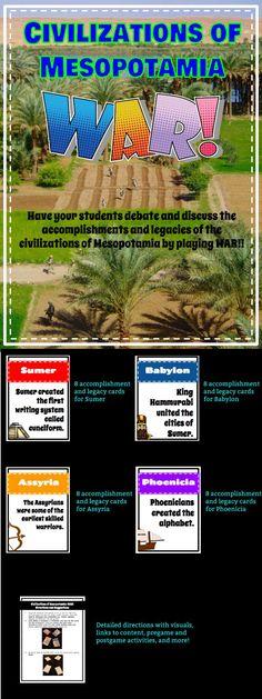 Ancient Mesopotamia Civilizations WAR Card Game: Sumer, Babylon, Assyria, and Phoenicia