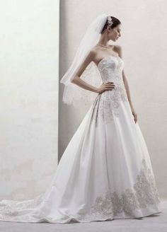 Amazon.com: David's Bridal Wedding Dress: Mikado Ball Gown with Beaded Appliques Style CWG436: ClothingSale: $849.99