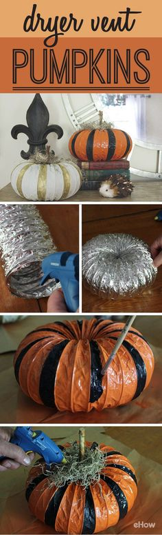 How cute are these pumpkins? They're made from dryer vents, if you can believe it or not! A great no-mess way to have pumpkins around all Fall long. Get the DIY instructions here: http://www.ehow.com/how_12340704_diy-dryer-vent-pumpkins.html?utm_source=pinterest.com&utm_medium=referral&utm_content=freestyle&utm_campaign=fanpage