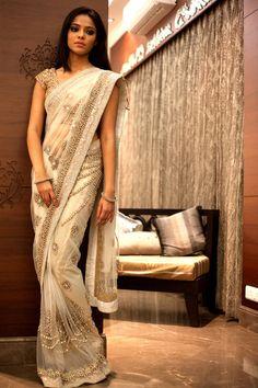 Love Saris, they are gorgeous! White Swarovski Sari from Izaya Designs India Fashion, Asian Fashion, Indian Dresses, Indian Outfits, Wedding Sari, Wedding Dresses, Telugu Wedding, Wedding Ceremony, Backless Wedding