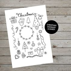 Printable Christmas doodles to help you decorate your bullet journal Christmas layouts. Trace into your journal or make stickers! #christmasstickers #christmasdoodles #christmasillustrations #bulletjournaldoodles #christmasbulletjournal #bulletjournal #bulletjournaling