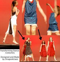 Quick Change Dance costumes by dragonariaes on DeviantArt Costume Wigs, Costume Dress, Ballet Costumes, Dance Costumes, Skating Dresses, Dance Dresses, Cinderella Dresses, Convertible Dress, Dance Leotards